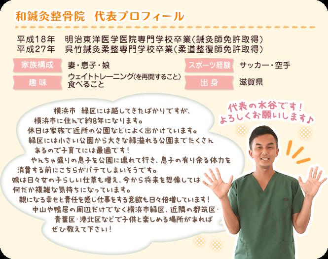 横浜市緑区にある和鍼灸整骨院の代表プロフィール