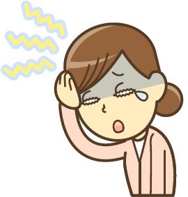 頭痛で泣く女性のイラスト